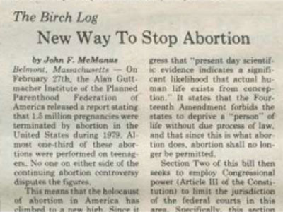 Example of a John Birch Society column in the Oswego Valley News, April 7, 1981. This newspaper published other JBS columns during 1985. From fultonhistory.com.