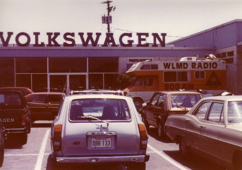 WLMD Mobile Studio at College Park Volkswagen for a remote, Summer of 1980.